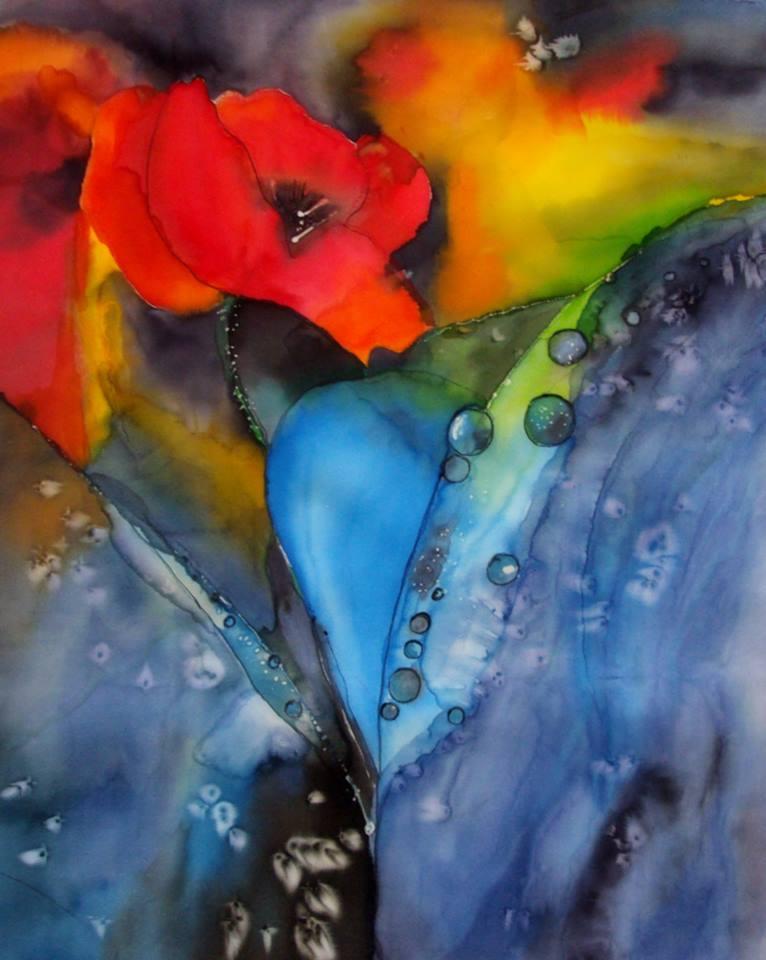 Zdzisława Andrys-Arcimowicz: Kwiaty, jedwab