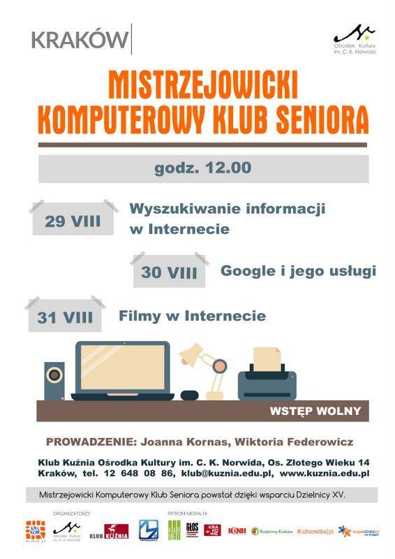 plakat Mistrzejowicki Komputerowy Klub Seniora