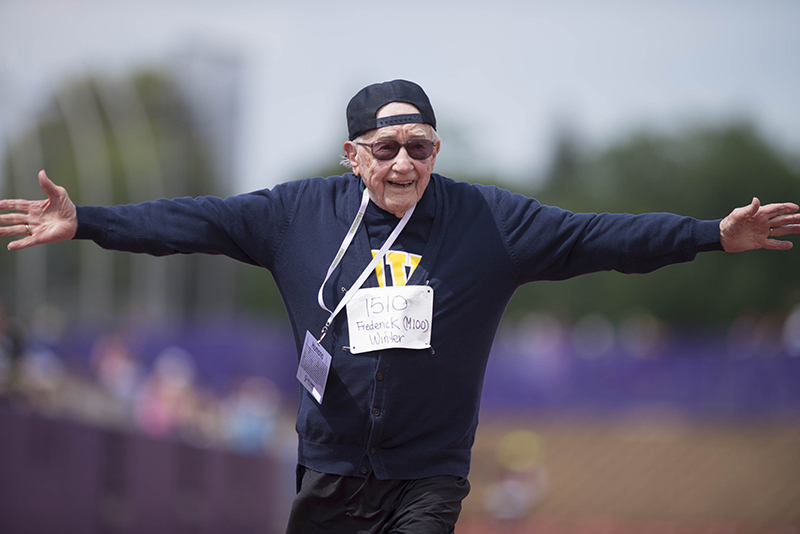 Frederick Winter completed in the mens 100 meter race at the the age 99 at the National Senior Games at the University of St. Thomas in St. Paul MN., on July 9, 2015 (© Rebekah A. Romero 2915)